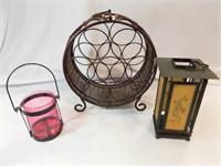 Wine Rack, Tea Light Lanterns (3)