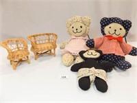 Stuffed Bears (3), Wicker Doll Chairs