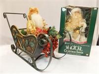 Santa in Sleigh, Fiber Optic Santa in Box