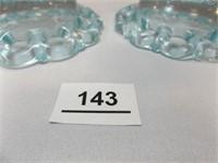 Glass Candleholders, Light Blue (2)