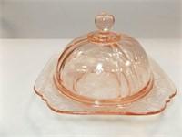 Glass Domed Piece, Cream & Sugar, Pink