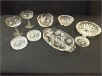 Clear Glass Pieces, Goblets, Ashtray (9)