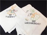 Tea Towels, 7 Day Set, Cross Stitch