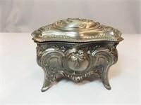 Vintage Silver Tone Trinket Box, Japan
