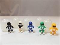 Power Ranger Type Figures in Capsules (5)