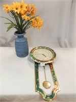 Heirloom Wall Clock, Blue Vase w/ Flowers