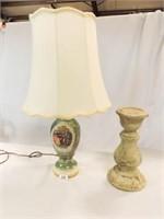"Pillar 12"", Lamp w/ Victorian Painting"
