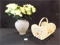 Wood Décor Basket, Glass Vase w/ Flowers