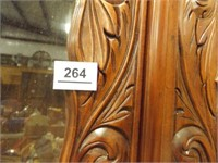 """Carved Wood Display Cabinet, 81"""" x 39"""" x 16"""""""