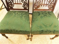 Wood Chairs, Upholstered Seats, Casters (2)