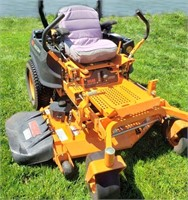 """Scag Cheetah Zero Turn HD Commercial Lawn Mower, 48"""" mower deck, 200+ hours, great cond. NOTE: This item will be sold at live auction, however absentee bids can be placed if you are unable to attend the auction. More pictures can be viewed by clicking the catalog tab and view Lot #10."""