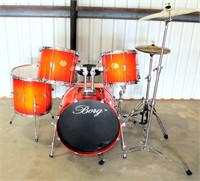 Borg by Zildjian 8-Pc Drum Set, exc cond.  NOTE: This item will be sold at live auction, however absentee bids can be placed if you are unable to attend the auction. More details and pictures can be viewed by clicking the catalog tab and view Lot #13.