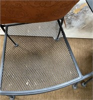 38 - PAIR OF METAL PATIO CHAIRS W/ CUSIONS