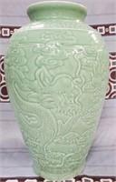 38 - BEAUTIFUL GREEN SIGNED DRAGON VASE