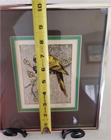 31 - SIGNED & MATTED YELLOW BIRD WALL ART
