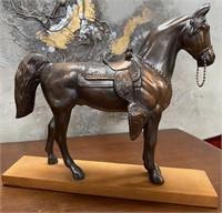38 - BEAUTIFUL METAL HORSE ON WOOD BASE