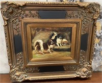 38 - SIGNED & FRAMED ART OF 3 DOGS