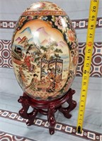 38 - BEAUTIFUL 21 INCH ASIAN EGG ON WOOD BASE