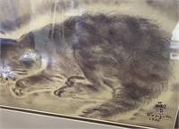 38 - SIGNED & FRAMED SLEEPING CAT WALL ART