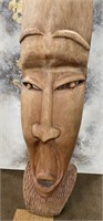 354 - WOOD CARVED POLYNESIAN STATUE 6 FT 7 IN