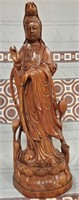 38 - BEAUTIFUL CARVED WOOD ASIAN STATUE