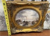 38 - GOLD FRAMED SHIP IN THE BAY ART