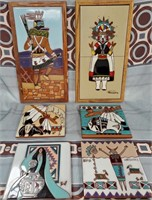N - LOT OF 6 BEAUTIFUL CERAMIC TILES - SEE PICS