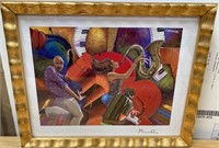 38 - SIGNED/GOLD FRAMED MUSICIANS WALL ART