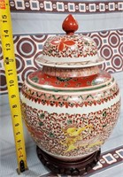 38 - STUNNING ASIAN COVERED JAR W/WOOD BASE