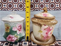 38 - LOT OF 2 COVERED JARS - ONE IS ROYAL DEVON