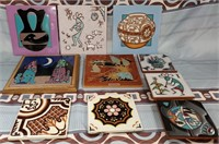 N - LOT OF 10 STONEWARE TILES - MANY USES