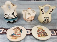 N - LOT OF 5 POTTERY PIECES - SEE PICS
