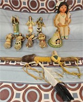 N - LOT OF NATIVE AMERICAN DOLLS & MORE - SEE PICS
