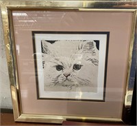 38 - LOT OF 3 FRAMED CAT WALL ART - SEE PICS