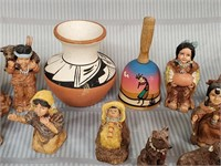 N - LOT OF NATIVE AMERICAN FIGURINES & POTTERY