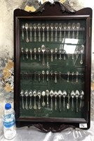 76 - BEAUTIFUL WOOD DISPLAY CASE W/ SPOONS