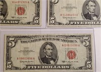 LOT OF 5 $5 RED SEAL NOTES