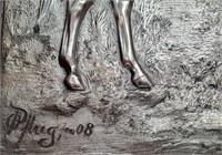 793 - SIGNED/FRAMED 3-D METAL ART OF HORSES