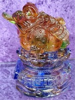 794 - STUNNING GLASS LUCKY FROG FIGURINE