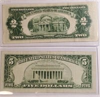 LOT OF $5 RED SEAL NOTES & $2 RED SEAL NOTE