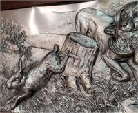 793 - SIGNED & FRAMED 3-D METAL ART OF THE CHASE