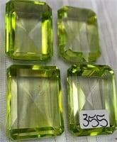 355 - LOT OF 4 LG GREEN DIAMOND PAPERWEIGHTS 4IN