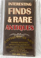 355 - LG WOODEN ANTIQUES & RARE FINDS SIGN 4FT