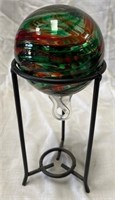 355 -LOT OF 3 BEAUTIFUL BLOWN GLASS BALLS ON STAND