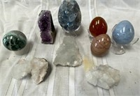 355 - AMATHYST;MIXED CRYSTALS & EGG PAPERWEIGHTS