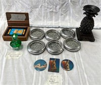 355 - 3 DECO POCKET MIRRORS;COASTERS;TAROT CARDS &
