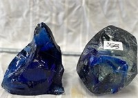 355 - LOT OF 2 LARGE PICES OF BLUE GLASS