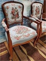 714 - ANTIQUE PAIR OF WOODEN NAILHEAD CHAIRS
