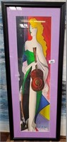 351 - SIGNED/NUMBERED/FRAMED MUSICAL LADY ART