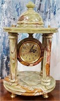 793 - CARVED STONE MANTLE CLOCK